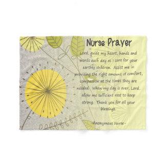Christian Nurse Prayer Yellow Floral Fleece Blanket