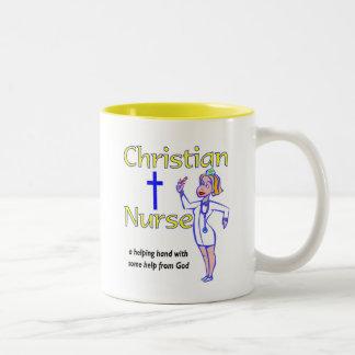 Christian Nurse religious gift Two-Tone Coffee Mug