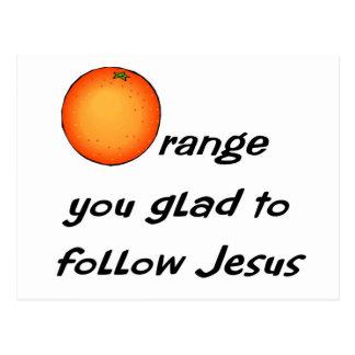 Christian orange fruit design postcard