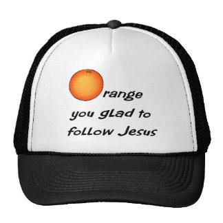 Christian orange fruit design trucker hat