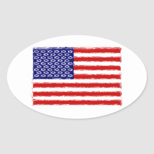 Christian Origin of the U.S.A. Flag Oval Stickers