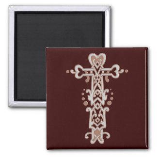 Christian Ornate Cross 38 2 Inch Square Magnet