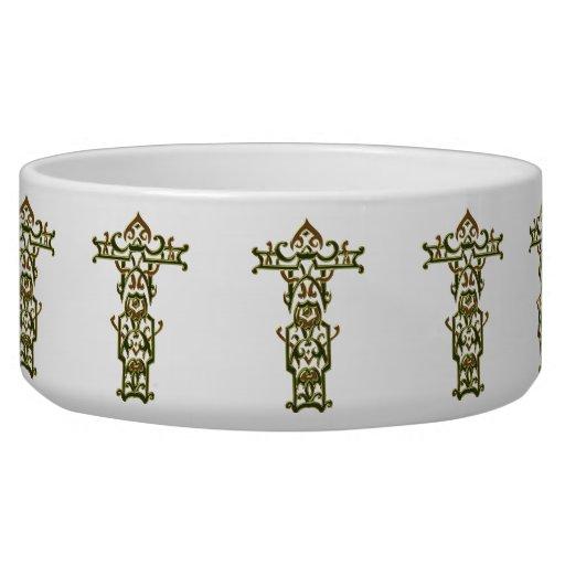 Christian Ornate Cross 47 Dog Food Bowl