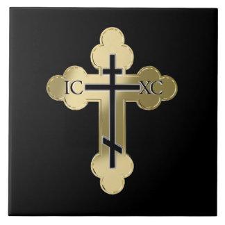 Christian orthodox cross ceramic tile