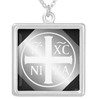 Christian Orthodox ICXC NIKA Christogram Square Pendant Necklace