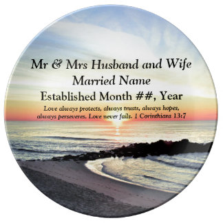 CHRISTIAN PERSONALIZED SUNRISE WEDDING PLATE