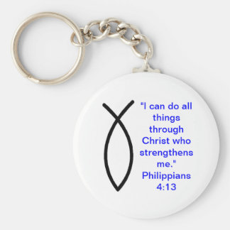 Christian Philippians 4:13 Keychain w/ Ichthus