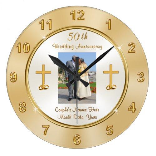 Christian Photo 50th Wedding Anniversary Clock
