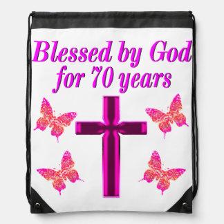 CHRISTIAN PINK 70TH BIRTHDAY CROSS DESIGN DRAWSTRING BAG