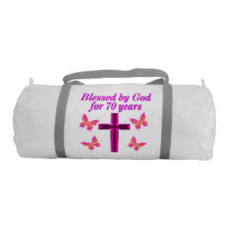 CHRISTIAN PINK 70TH BIRTHDAY CROSS DESIGN DUFFLE BAG