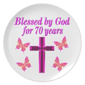 CHRISTIAN PINK 70TH BIRTHDAY CROSS DESIGN MELAMINE PLATE