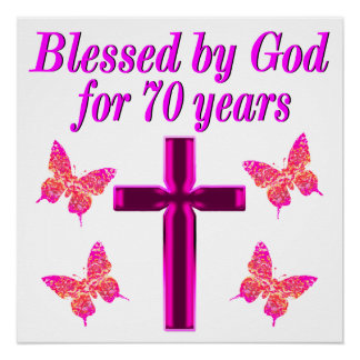 CHRISTIAN PINK 70TH BIRTHDAY CROSS DESIGN POSTER