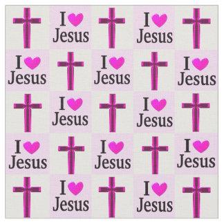 CHRISTIAN PINK CROSS I LOVE JESUS FABRIC