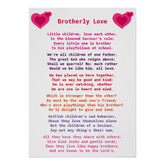 Christian poem / hymne :  Brotherly Love 1 Poster