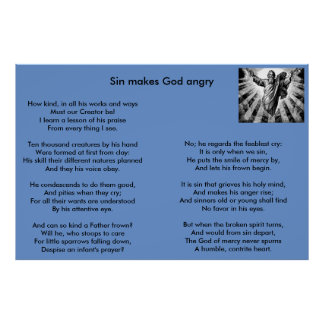 Christian poem / hymne : Sin makes God angry Poster