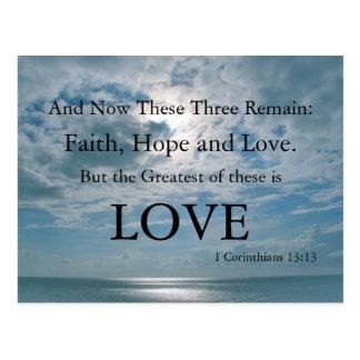Christian Postcard, Faith, Hope, Love - Religious Postcard