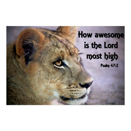 Christian Poster with Mountain Lion and Bible Vers