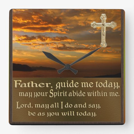 Christian prayer clcok square wall clock