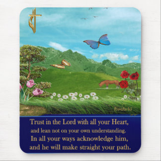 christian proverbs 3:5 mouse pad
