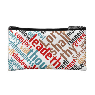 Christian PSALM 23 Colorful Word Art Cosmetic Bag