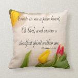 Christian Psalm Pillow, Psalm 51:10