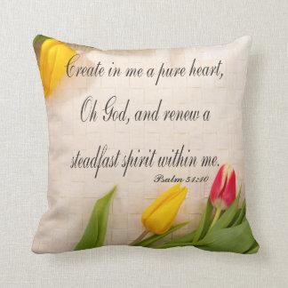 Christian Psalm Pillow, Psalm 51:10 Throw Pillow