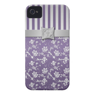 Christian Purple and Silver Floral Stripes iPhone 4 Case