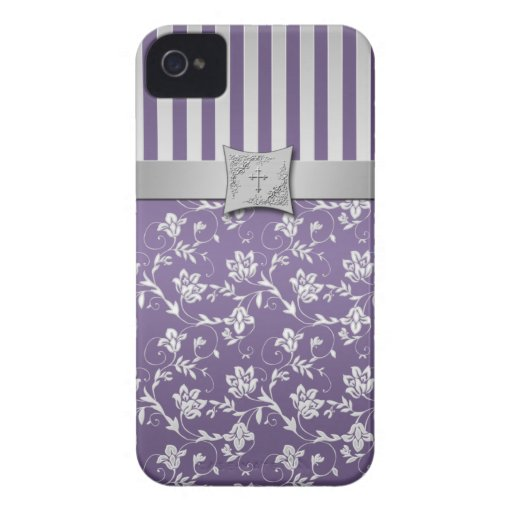 Christian Purple and Silver Floral Stripes iPhone 4 Covers