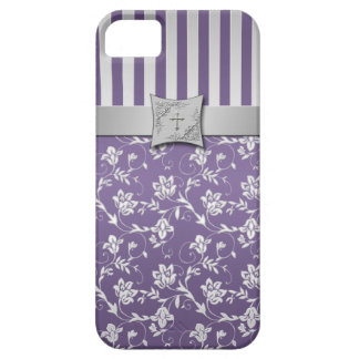 Christian Purple Silver Floral Stripes iPhone 5 iPhone 5 Covers