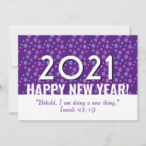 Christian Purple Snowflakes | HAPPY NEW YEAR 2021 Holiday Card