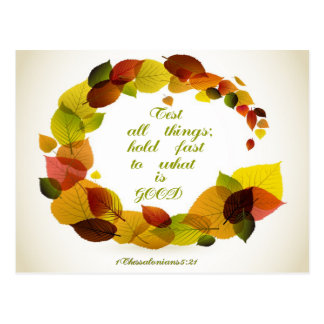 Christian Quote: 1 Thess. 5:21 - Wreath Postcard