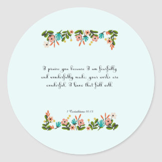 Christian Quote Art - 1 Corinthians 10:13 Classic Round Sticker