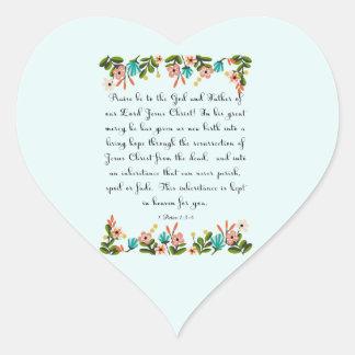 Christian Quote Art - 1 Peter 1:3-4 Heart Sticker