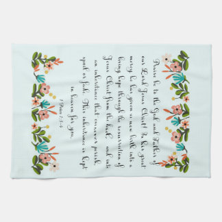 Christian Quote Art - 1 Peter 1:3-4 Kitchen Towels
