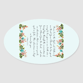 Christian Quote Art - 1 Peter 1:3-4 Oval Sticker