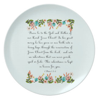 Christian Quote Art - 1 Peter 1:3-4 Plate