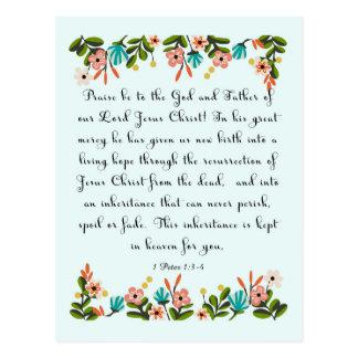 Christian Quote Art - 1 Peter 1:3-4 Postcard