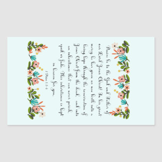 Christian Quote Art - 1 Peter 1:3-4 Rectangular Sticker