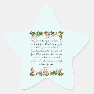 Christian Quote Art - 1 Peter 1:3-4 Star Sticker
