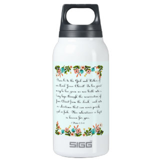 Christian Quote Art - 1 Peter 1:3-4 Thermos Water Bottle