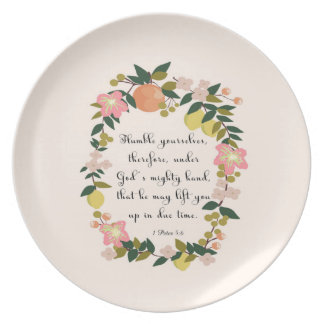 Christian Quote Art - 1 Peter 5:6 Melamine Plate