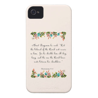 Christian Quote Art - Deuteronomy 33:12 iPhone 4 Cover