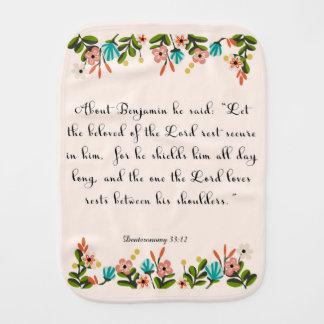 Christian Quote Art - Deuteronomy 33:12 Burp Cloths