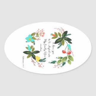 Christian Quote Art - Ephesians 1:4-5 Oval Sticker