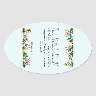 Christian Quote Art - Ephesians  2:4-5 Oval Sticker