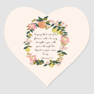 Christian Quote Art - Ephesians 3:16 Heart Sticker
