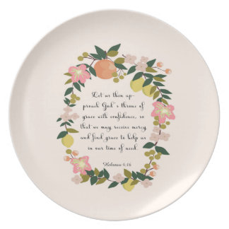 Christian Quote Art - Hebrew 4:16 Plate