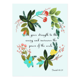 Christian Quote Art - Isaiah 40:29 Postcard