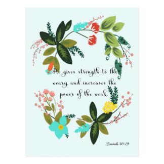 Christian Quote Art - Isaiah 40:29 Postcard