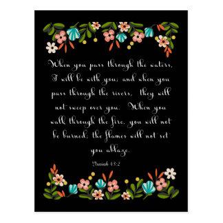 Christian Quote Art - Isaiah 43:2 Postcard